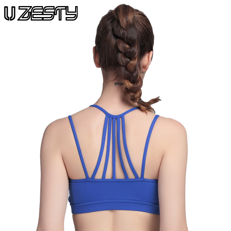 New 4 Colours Women Sports Bra Sexy Back Gym Fitness Bra Push Up Wirelss Bras Padded Exercise Yoga Tops Back Strap Running Bra