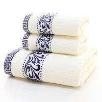 2016 100% Cotton Embroidered Towel Sets Bamboo Beach Bath Towels for Adults Luxury Brand High Quality Soft Face Towels 3 PCS