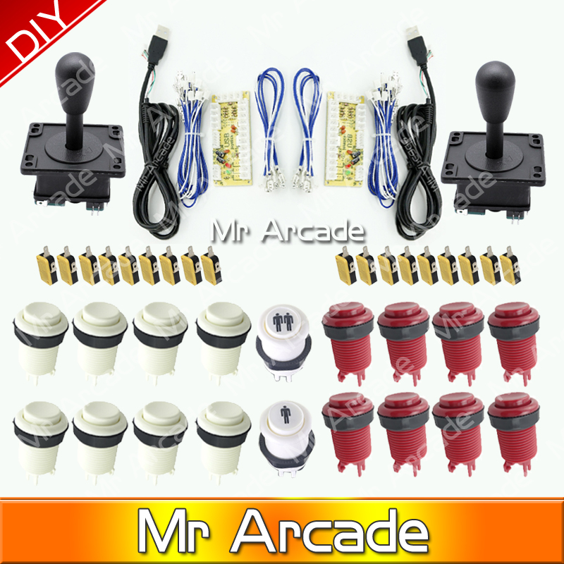 NEW Arcade JAMMA 60 in 1 Kit parts for 2 HAPP style 4/8 way Joysticks& 14 American Push Buttons MAME& Wire harness&Microswitch