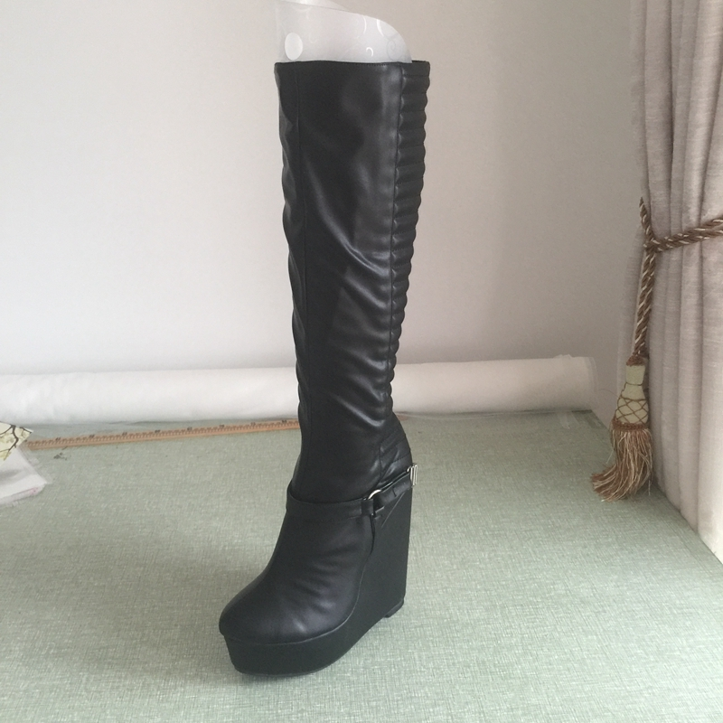 Actual Photo Women Boots Knee High Platform High Heels Wedges Winter Boots Shoes Women Ladies Platform Shoes Plus Size 14