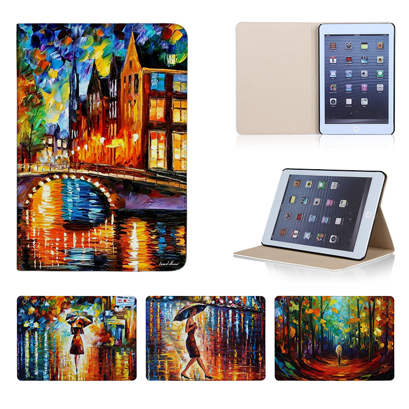 Nature Oil Painting Tablets Smart Cover For iPad Mini 1 2 3 4 Leather 7.9 inch Case Stand Protective Sleeve Cover