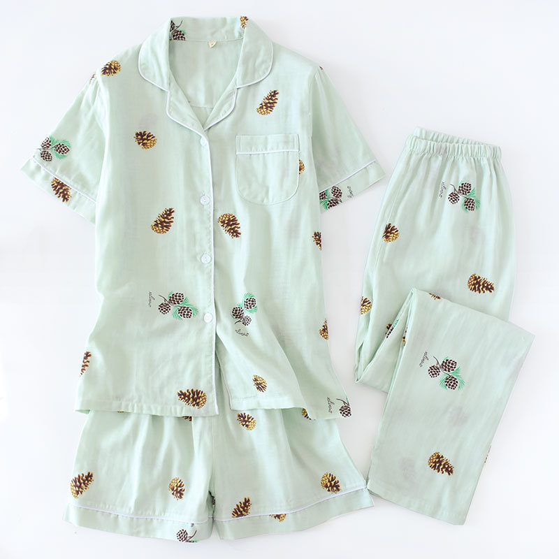 Image 4 - 3pcs suits Fresh short sleeve pyjamas women Summer 100% gauze cotton sleepwear women Korea pajamas shorts home pants New Sale-in Pajama Sets from Underwear & Sleepwears