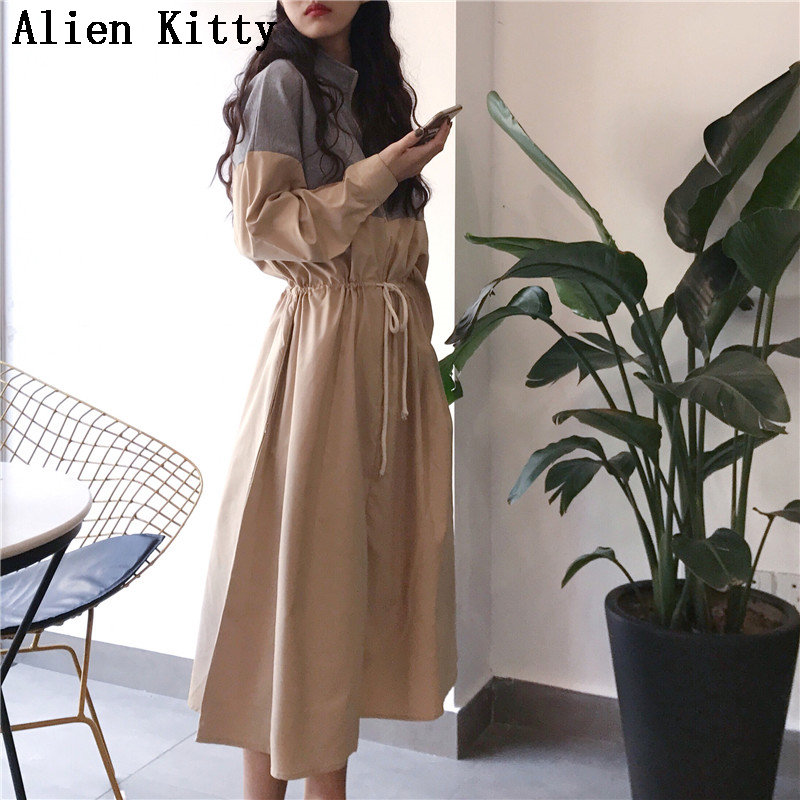 Alien Kitty New Style Empire Waist-Controlled Patchwork Zipper Hot Sale Spring Loose Casual Mid Calf Vintage Fresh Free Dress