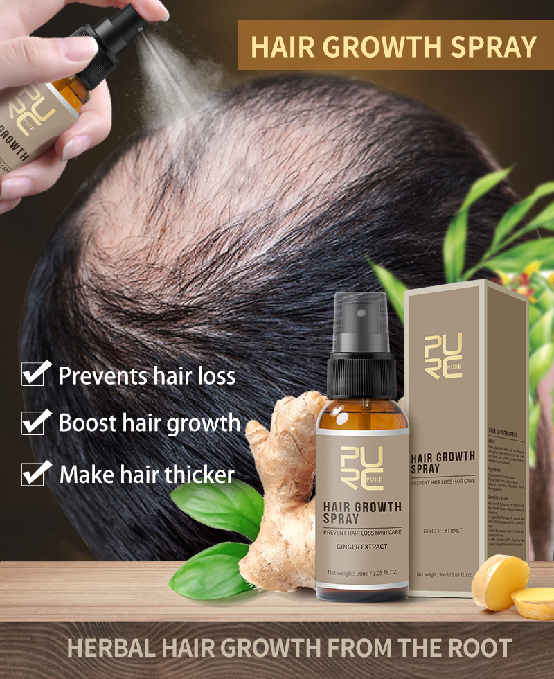 11.11 PURC New Product 30ml Hair Care Treatment Hair Growth Spray Ginger Extract Prevent Hair Loss for Men & Women