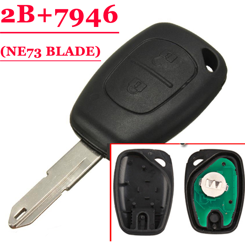 Free Shipping 20pcs Lot 2 Button Remote Key For Renault Ne73 Blade 433MHZ With Pcf7946 chip