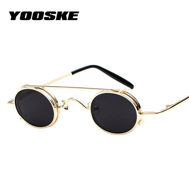 YOOSKE Steampunk Óculos De Sol Das Mulheres Pequeno Rodada Do Vintage Óculos  De Sol para Homens ac3613c42b