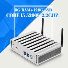 Mini pc Core i5 5200U 5th generation Core Processors 2.2GHz 8G RAM 128G SSD Nuc Fanless Computer Mini desktop computer