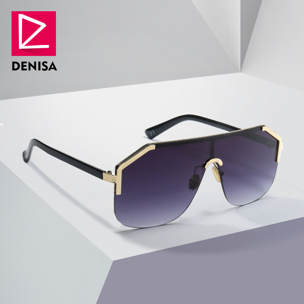 DENISA Azul de Grandes Dimensões Sem Aro Homens Óculos de Sol Novo 2019 One Piece Lens Escudo Óculos De Sol Senhoras UV400 gafas de sol mujer g22071