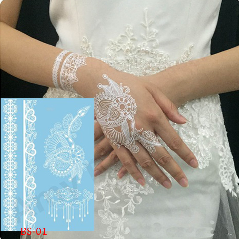 Indian Wedding Henna Tattoos: 1pcs Indian Arabic White Henna Tattoo Paste Lace Designs