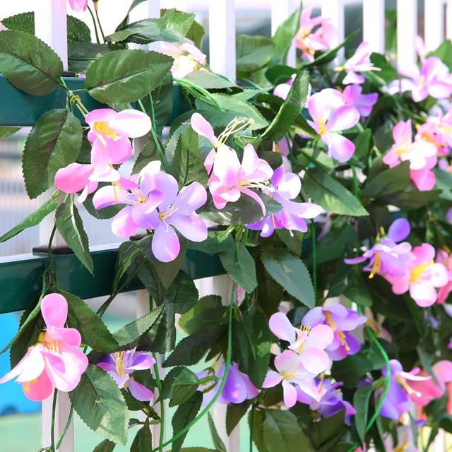 2pcslot Lily Artificial Flower Fake Silk Ivy Vine Hanging
