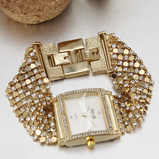 Luxury Brand Bracelet Watch Women Bling Rhinestone Decoration Quartz-watch Vinta