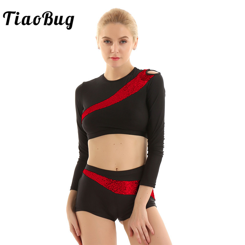 TiaoBug Women Shiny Sequins Fitness Dancewear Long Sleeves Ballet Gymnastics Crop Tops Shorts Set Team Competition Dance Costume