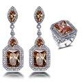 2017 New Super Ofertas de Color Champán Piedras placa de Rodio joyería AAA Cubic zirconia Pendientes y anillo set de joyas para las mujeres