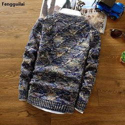 2018 New Fashion Mens Christmas Sweater Casual Slim Fit Male Clothing Long Sleeve Knitted Pullovers Winter Thick Sweater Men 4
