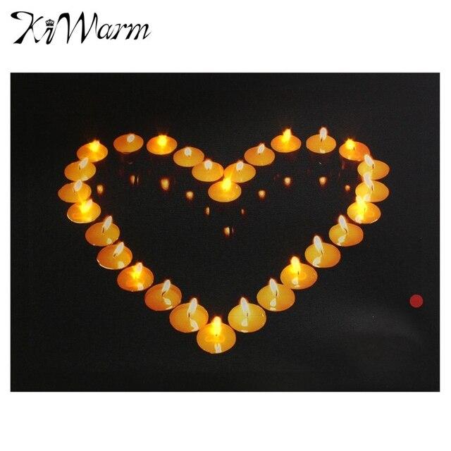 Herzförmige Kerzen Leuchten LED Leinwand Malerei Kunst Bild Geschenke  Wandbild Für Haus Zimmer Hotel Flur Wand