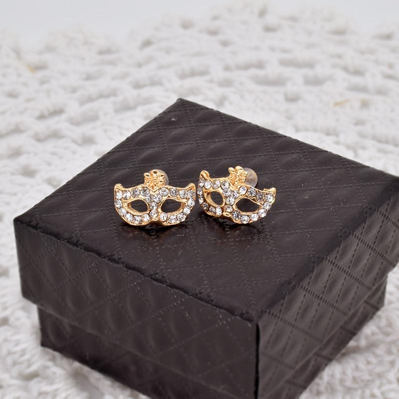 f3ee62a20d47 Горячие Модные украшения золото и серебро Цвет танец маска Серьги сиять CZ  Шпильки Серьги-гвоздики для Для женщин er224