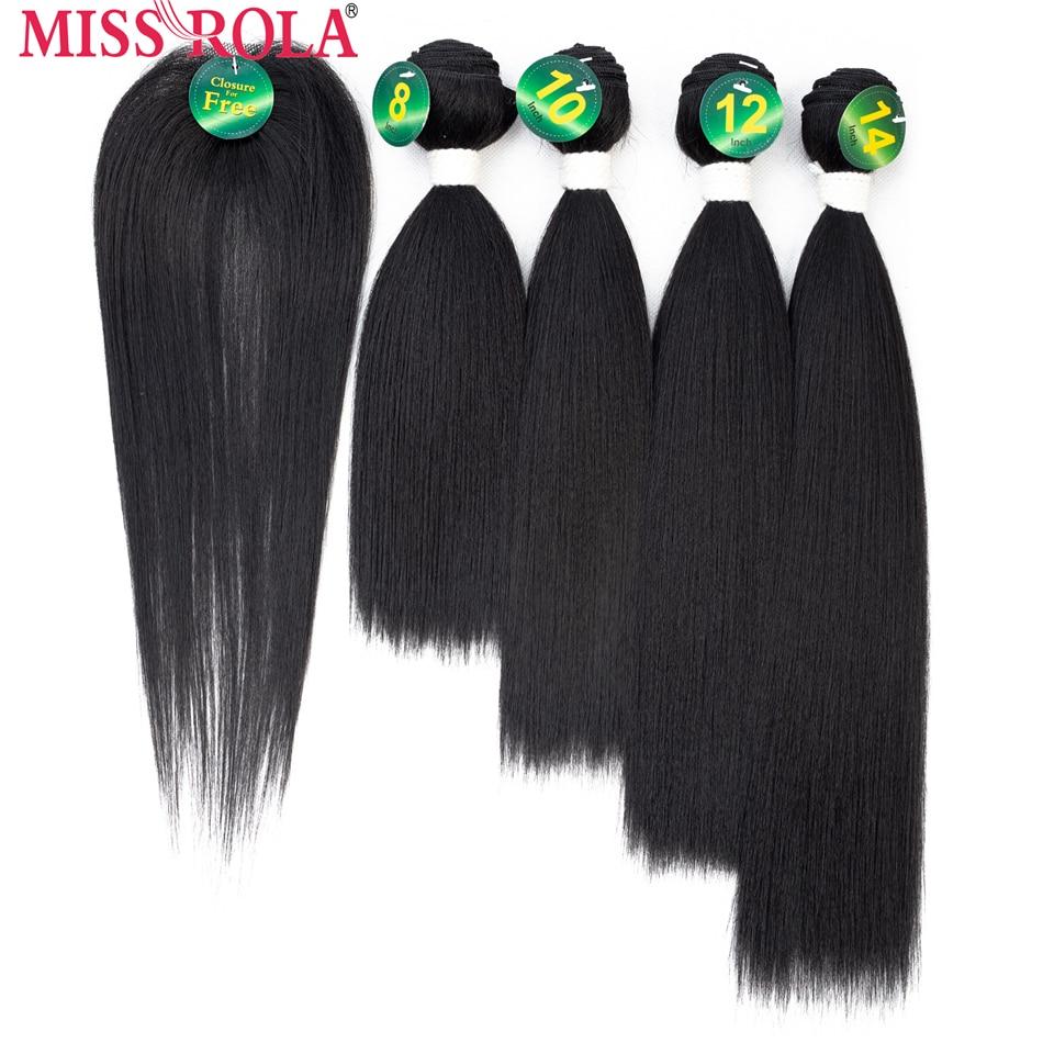 Прямые синтетические волосы Miss Rola, 8-14 дюймов, 4 + 1 шт., 200 г, # 1B, пряди для плетения с бесплатным закрытием