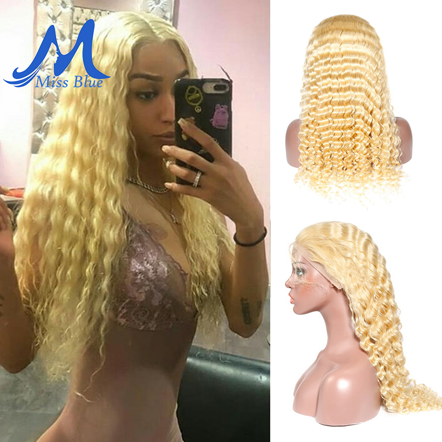 613 Honey Blonde Peruvian Curly Hair Lace Front Human Hair Wigs For Black Women Deep Wave