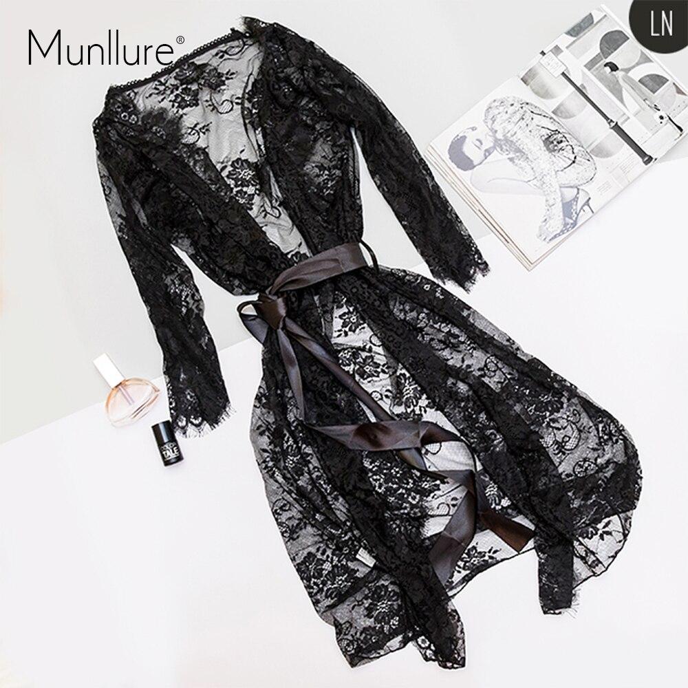 Munllure 검은 속눈썹 레이스 nightdress 잠옷 섹시한 레이스 업 3 피스 고급 유혹
