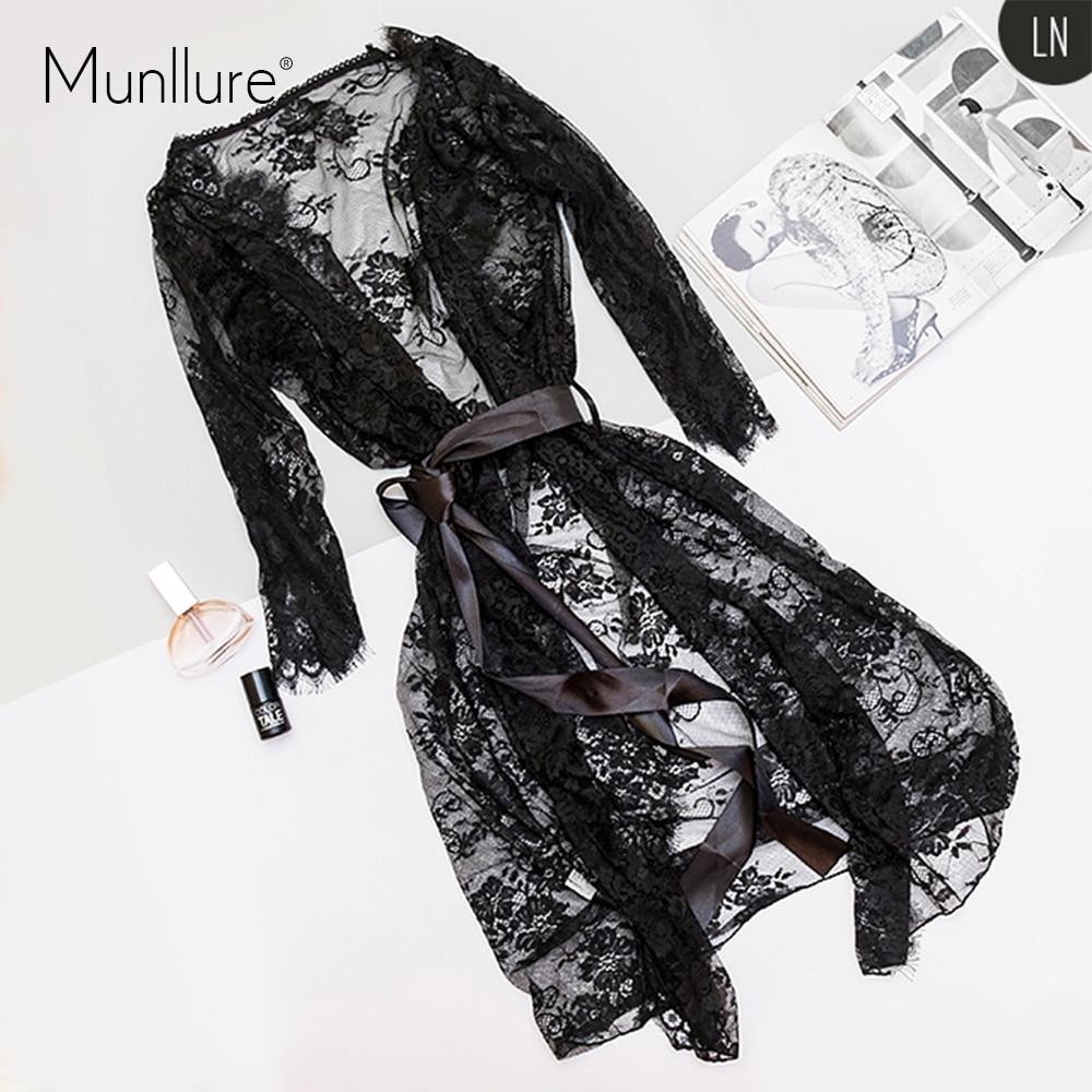 Munllure Black Eyelash Lace Nightdress Nightgown Sexy Lace-up Three-piece Luxury Temptation