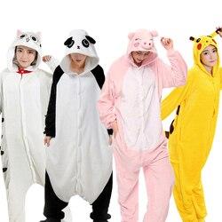 الشتاء Kigurumi الكبار بيجاما للحيوانات النساء الرجال ملابس خاصة يونيكورن الباندا غرزة القط نيسيس للبالغين الكرتون تأثيري Homewear