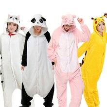 Зимняя Пижама Кигуруми для взрослых пижамы для женщин и мужчин Единорог панда Ститч кошка комбинезоны для взрослых мультфильм домашний костюм косплей