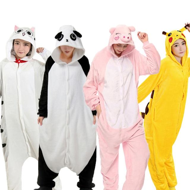 겨울 Kigurumi 성인 동물 잠옷 여성 남성 잠옷 유니콘 팬더 스티치 고양이 onesies 성인 만화 코스프레 Homewear