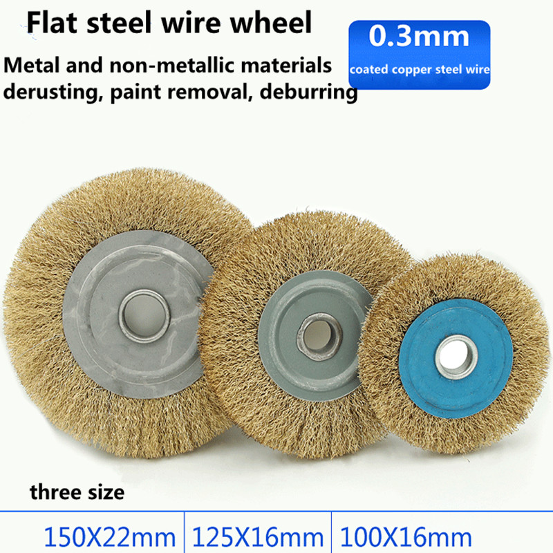 Parellel Copper Coated Steel Wire Wheel Brush Used For Metal Derusting Wood Grinding Polishing