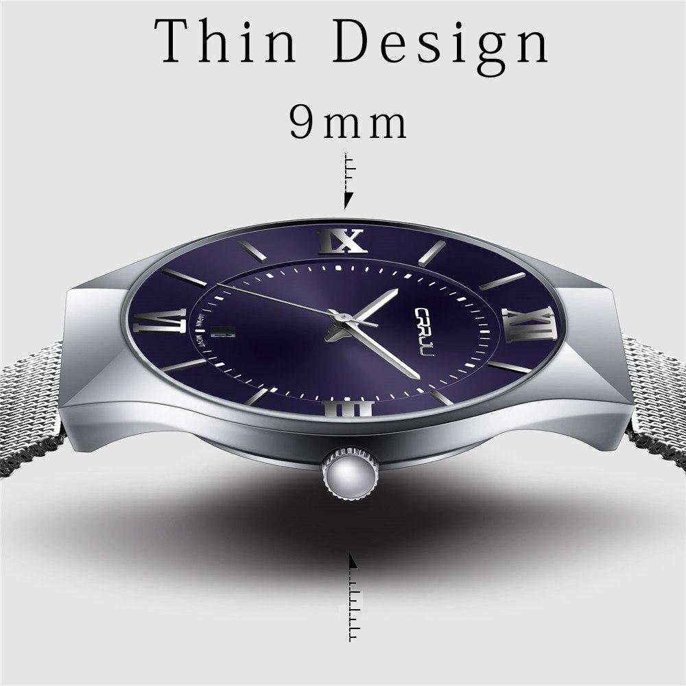 CRRJU Men S Watches New Luxury Brand Watch Men Fashion Sports Quartz Watch Stainless Steel Mesh