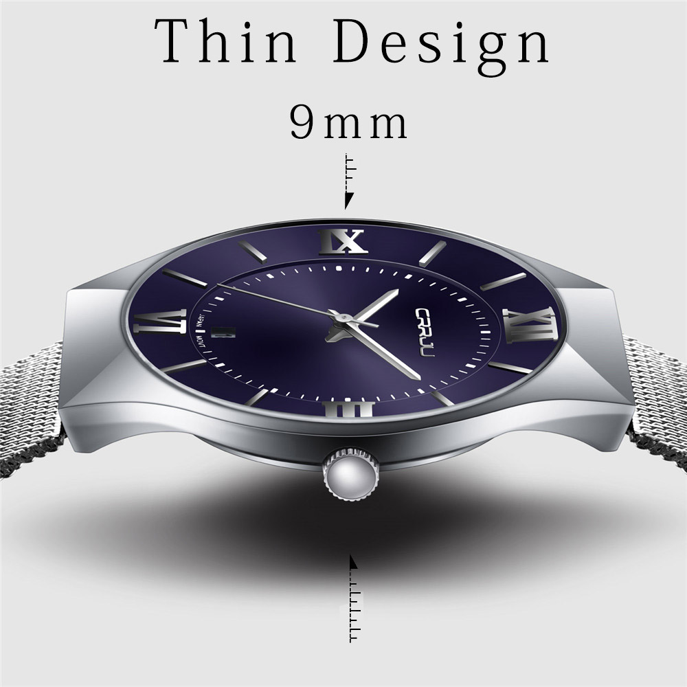 Top Luxury Brand CRRJU Men's Watches Stainless Steel Band Display Quartz Men Wrist watch Ultra Thin Dial Clpck Fashion Watch onlyou brand luxury fashion watches women men quartz watch high quality stainless steel wristwatches ladies dress watch 8892