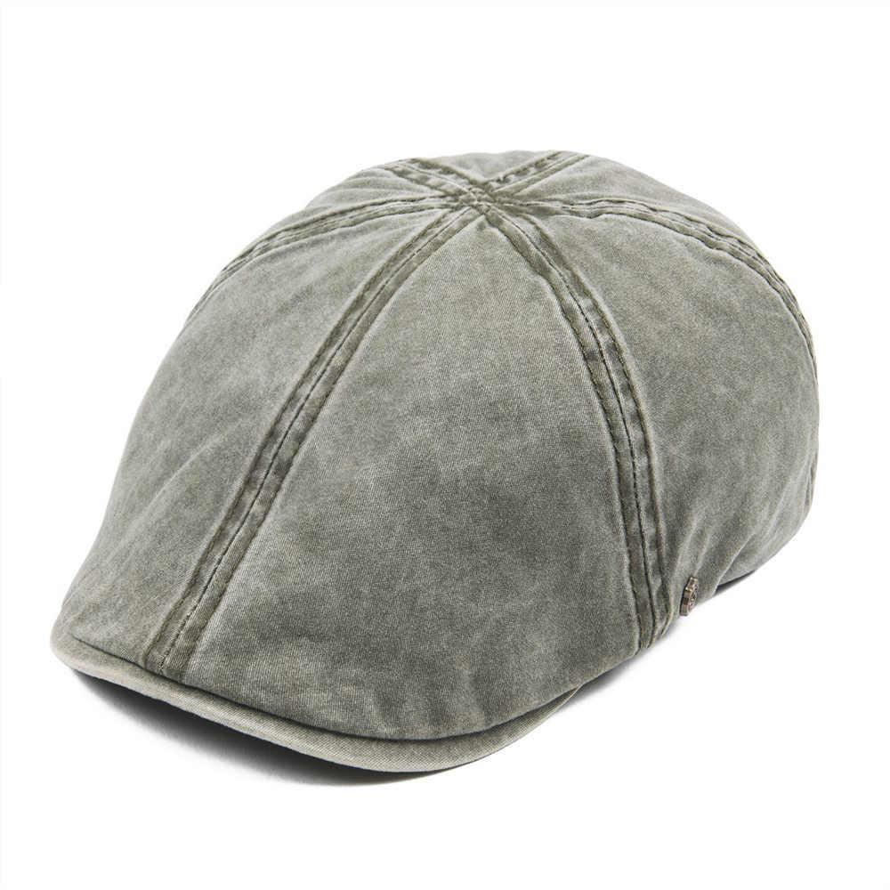 32983644 VOBOOM Washed Cotton Flat Cap Men Newsboy Caps Cabbie Hat Male Ivy Flat Hat  Lightweight Gatsby