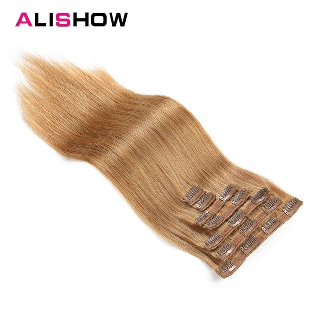 Alishow Clip In Human Hair Extensions Remy Hair Straight Full Head