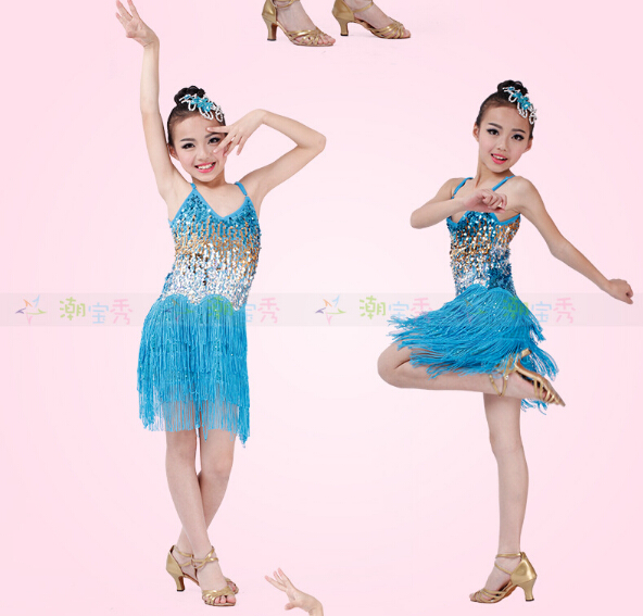 4 Color Stage Tassel Pink Gold Blue Black Fashion Rumba Latin Dance Dress Tango Samba 110-160cm Professional Girl Child Costume