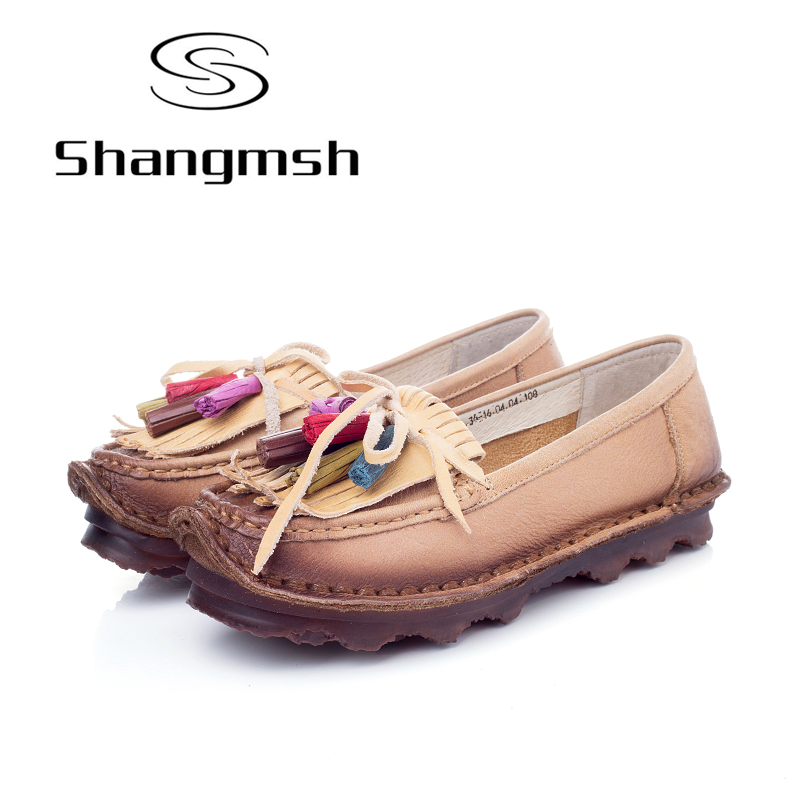 Shangmsh women's flat shoes Handmade Genuine Leather shoes for women Fashion Brand Ladies Flats Casual Soft driving Loafer tastabo genuine leather women boots new brand handmade casual leather shoes leather moccasin fashion driving flats boots shoes