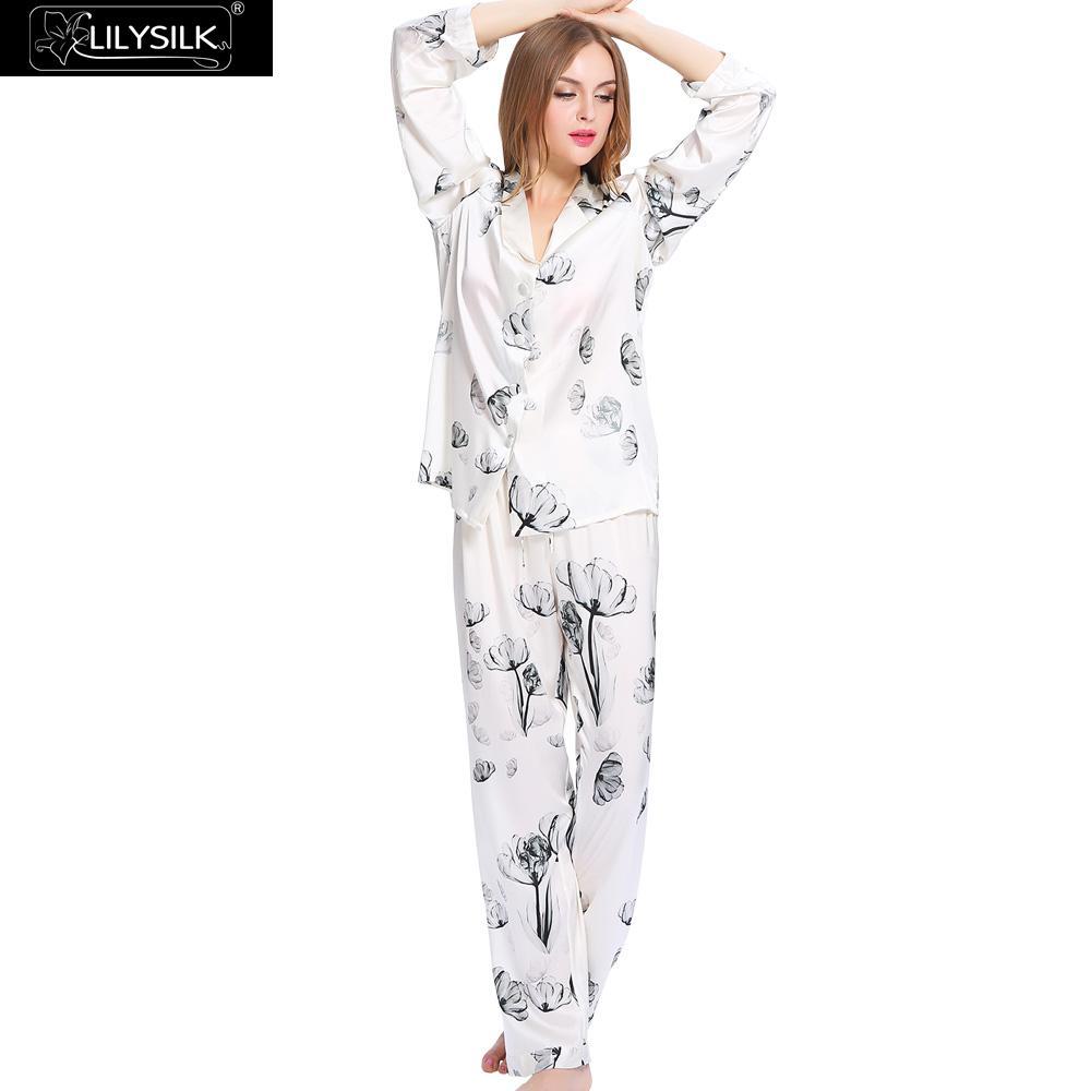 Lilysilk Silk Pijama Women PJS White Lotus Long Sleeve Floral Pajamas Set  19 Momme Indoor Sleeping Wear Winter Couple Skin Care f60a144e0