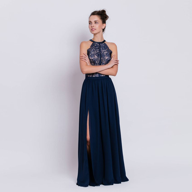 4fbdf33260 Maxi Skirts Chiffon Navy Blue Split Side Floor Length Women Skirts Formal Evening  Prom Separates With