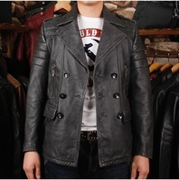Free shipping.new cool style Brand man thicker vintage cow leather long slim Jackets men's genuine Leather classic jacket.