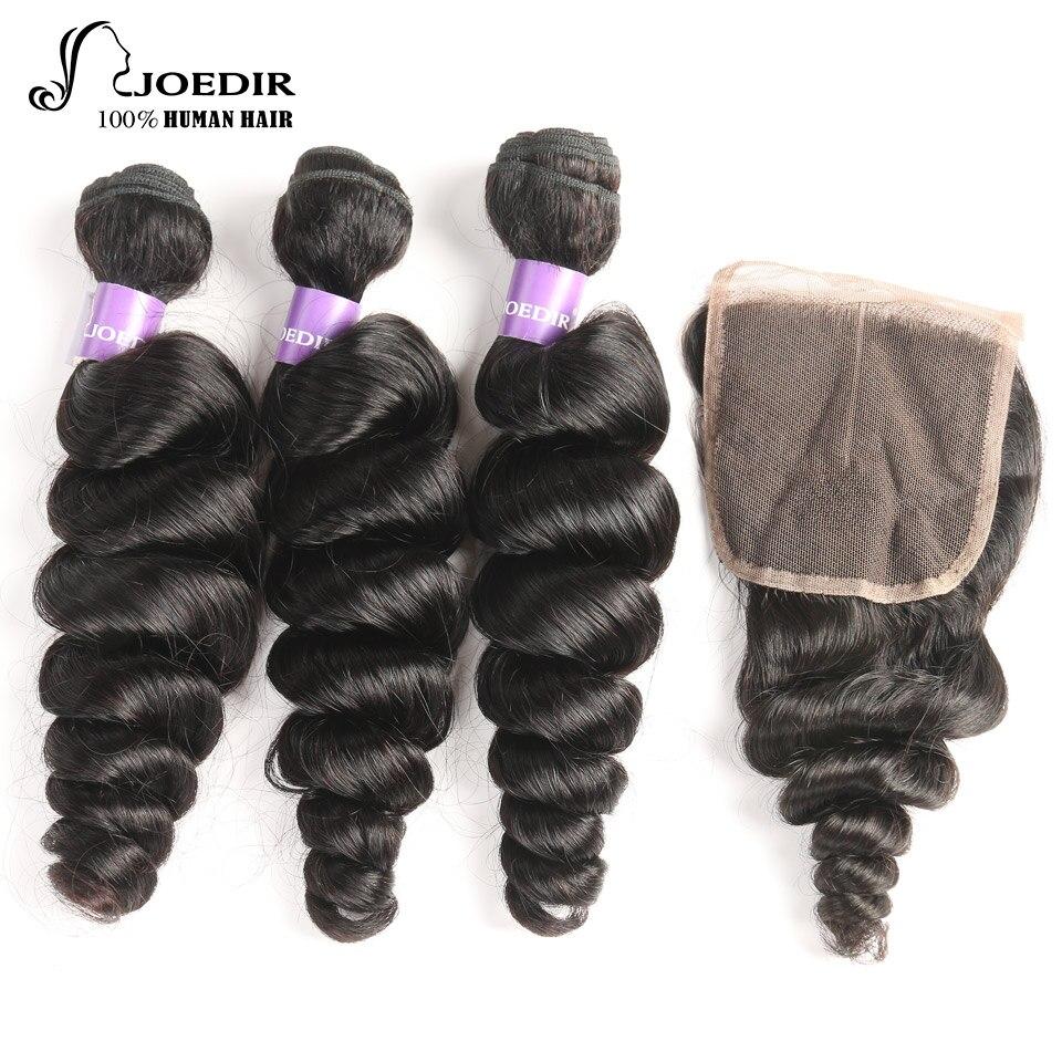 Joedir Hair Non Remy Human Hair Bundles With Closure 100% Indian Loose Wave 3 Bundles With Closure Free Shipping