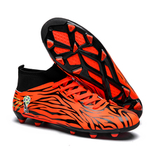New Men Soccer Shoes Kids Cleats FG High Ankle Football Boots TF