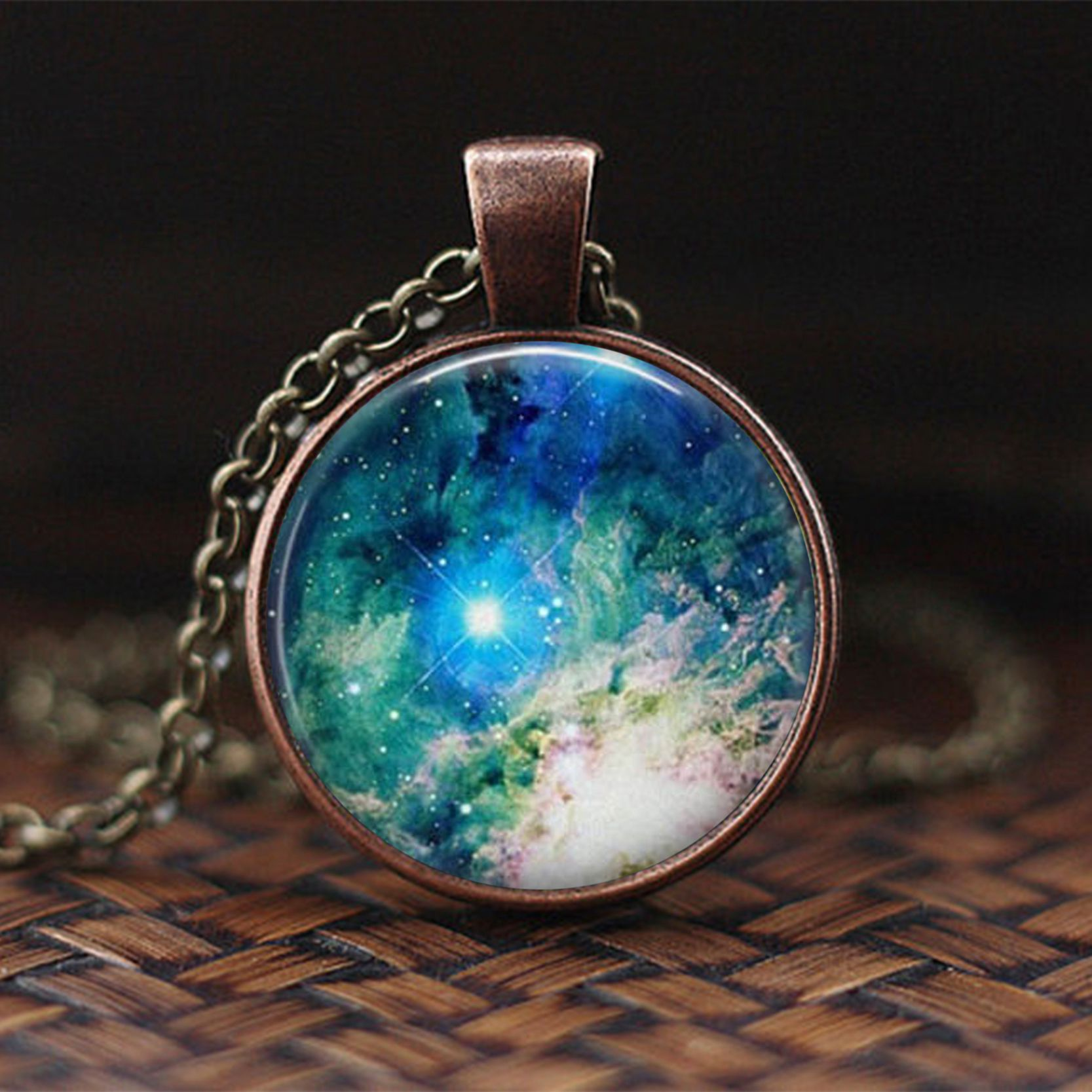 Nebula Necklace Galaxy Astronomy Pendant Solar System