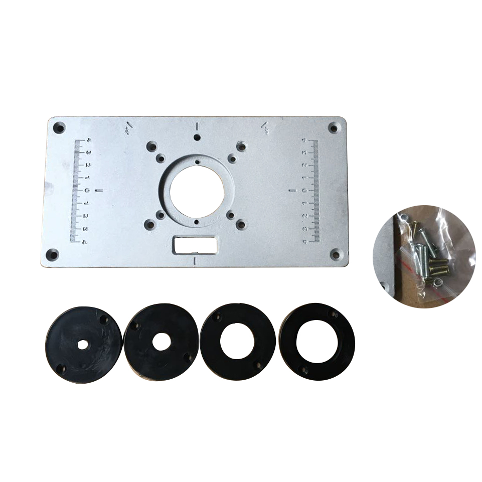 2351208mm aluminum router table insert plate with 4 rings and 700c aluminum router table insert plate 4pcs insert rings wood router table for woodworking benches greentooth Choice Image