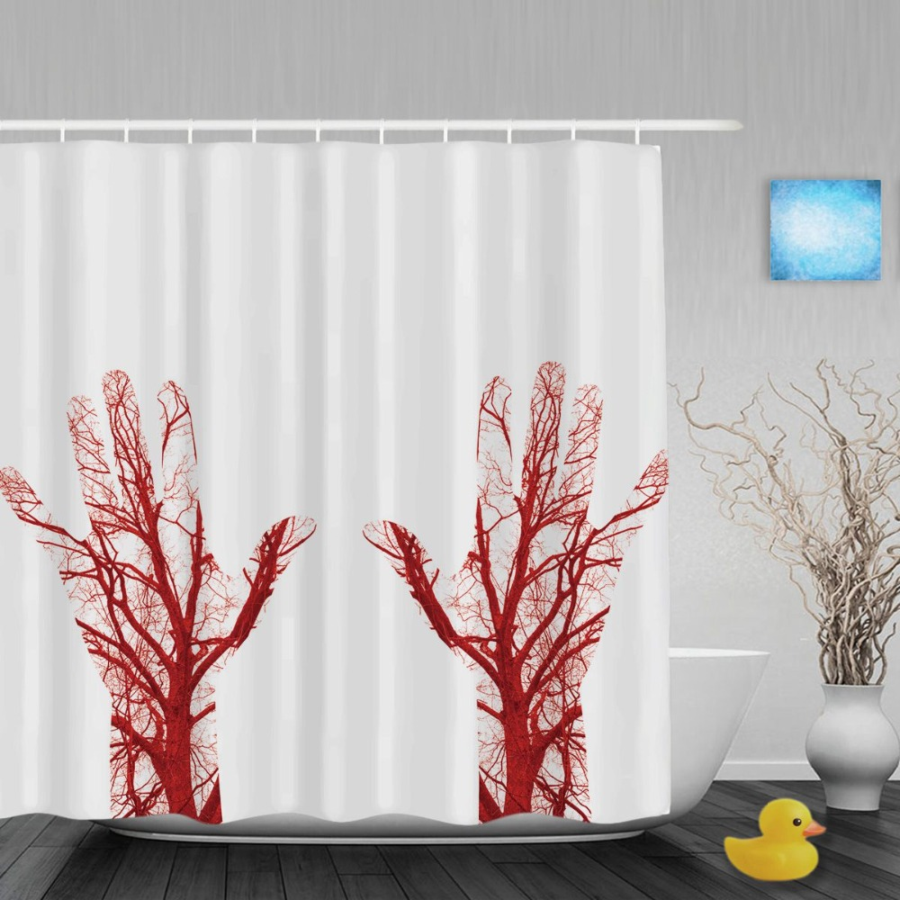 Human Blood Vessels In Male Hand Shower Curtain Halooween Decor Bathroom Shower  Curtains Waterproof Polyester Fabric With Hooks