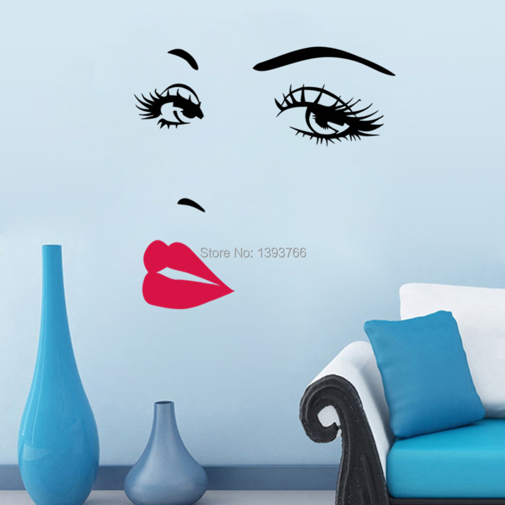 Home Wall Art Diy Beautiful Face Eyes And Lips Wall Art Sticker 8469 Painting