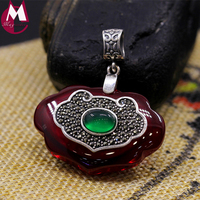 34*22 Big Gemstone Jewelry Top Quality Green Agate Red Jade Necklace Pendant Women 925 Sterling Silver Pendant Best Gifts SP72