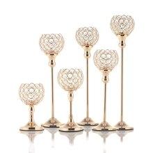 Cristal de la vela de Tealight titulares de vidrio de Metal de candeleros para bodas MESA CENTRO DE MESA fiesta de Navidad de decoración de Casa Hogar Moderno