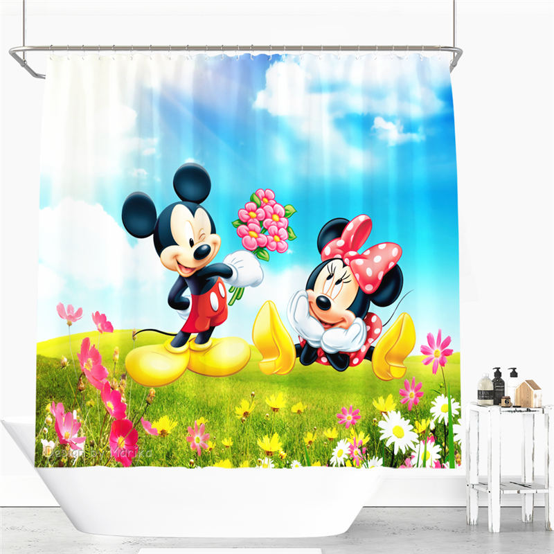 Cute Mickey and Minnie Cartoon Shower Curtain Polyester Fabric Bathroom Curtain 12 Hooks Waterproof Tom and Jerry Shower Curtain