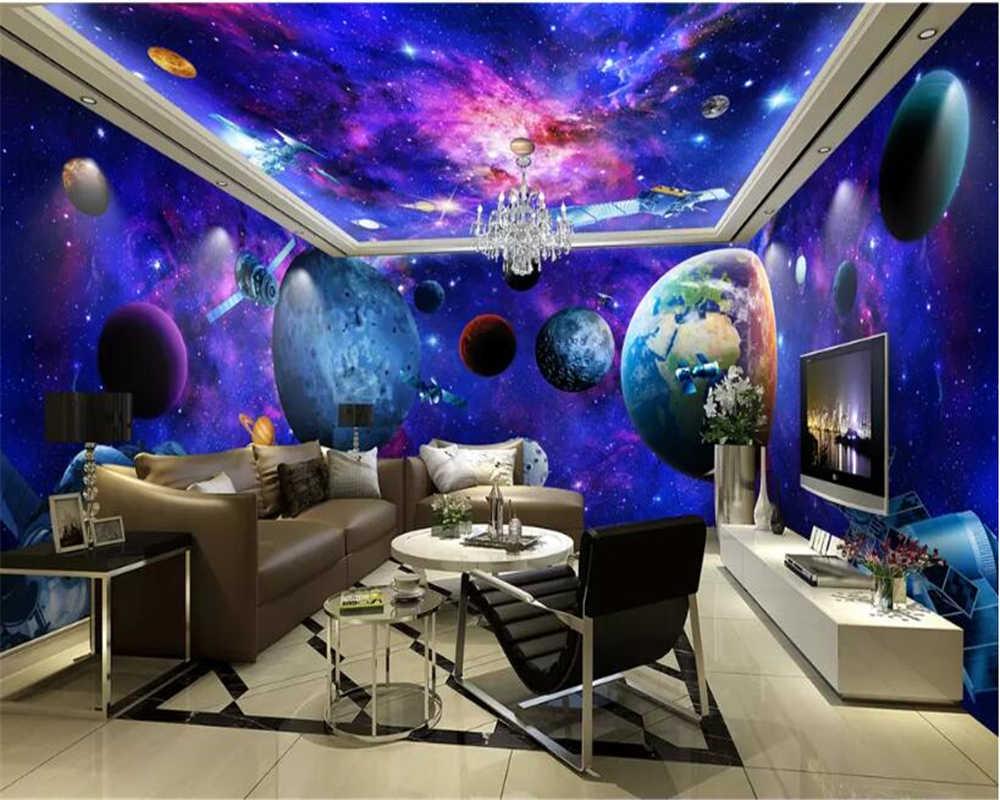 Beibehang abstrato foto papel de parede mural Personalizado tema do espaço universo galaxy terra 3D teto papel de parede papel de parede para paredes 3 d