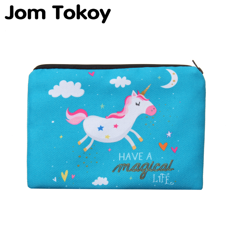 Jom Tokoy 2019 New Blue Unicorn Simple Square Cosmetic Bag 3D Printed Polyester Travell Makeup Bags