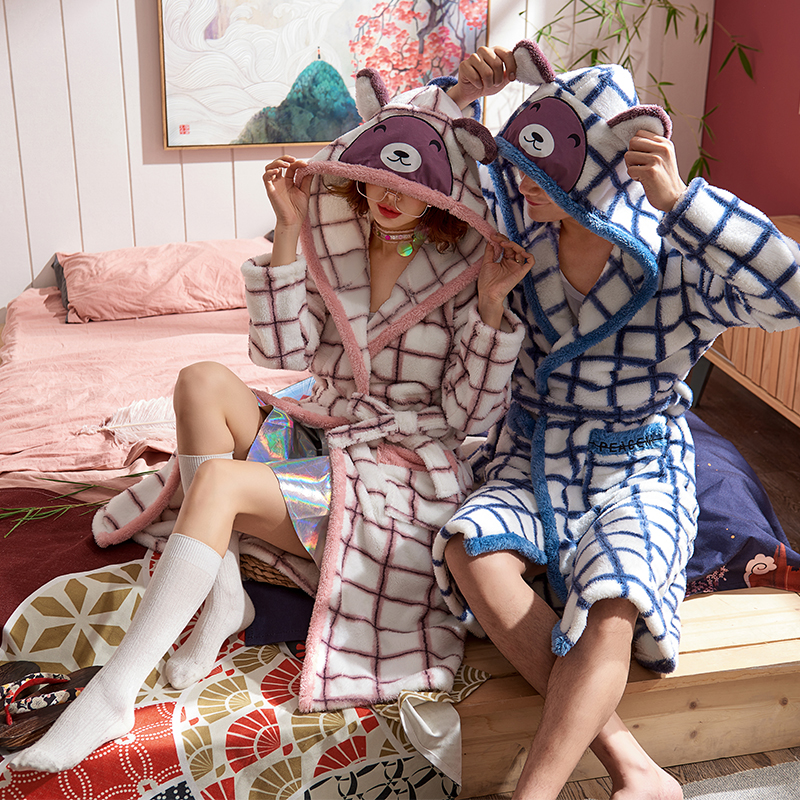 Korean Men's Winter Plaid Flannel Pyjamas Robe Casual Long Couple Bathrobe Harajuku Long-sleeved Fleece Pajamas Home Bathrobe