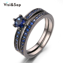 Eleple Black gold color Ocean Blue Stone ring AAA cubic  fashion vintage jewelry Wedding Rings For Women  lovers gifts VSR214